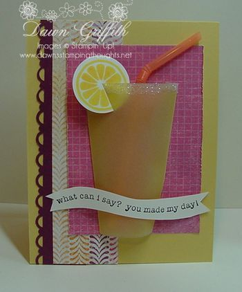 "By Dawn Griffith. Video tutorial on her site. Vellum cardstock ""glass."" Punched paper 1 1/4"" x 5 1/2"". Designer paper 1 1/2"" x 5 1/2"". Pink background paper 3"" x 4 1/2""."