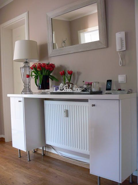 Materials: Sideboard: 2 Faktum base cabinets width 30cm, Abstrakt doors high-gloss white, 2 Varde knobs, 8 Capita Legs, piece of worktop from the building center, cabinet cover panels high-gloss white