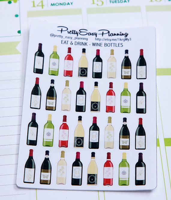 Wine Bottle stickers - Erin Condren - Happy Planner - Filofax - planner stickers - alcohol stickers - planner decoration - wine stickers by PrettyEasyPlanning  1.90 EUR  With these adorable stickers you can mark parties celebrations and any other special occasion where you might want to enjoy a glass of wine in your planner. You can also use these cute stickers for any scrapbooking project. Each sticker is printed on glossy vinyl or matte paper and is individually kiss-cut so you can peel…