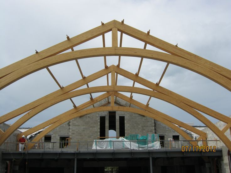 Wood And Steel Structure : Wood truss system is long on centers steel