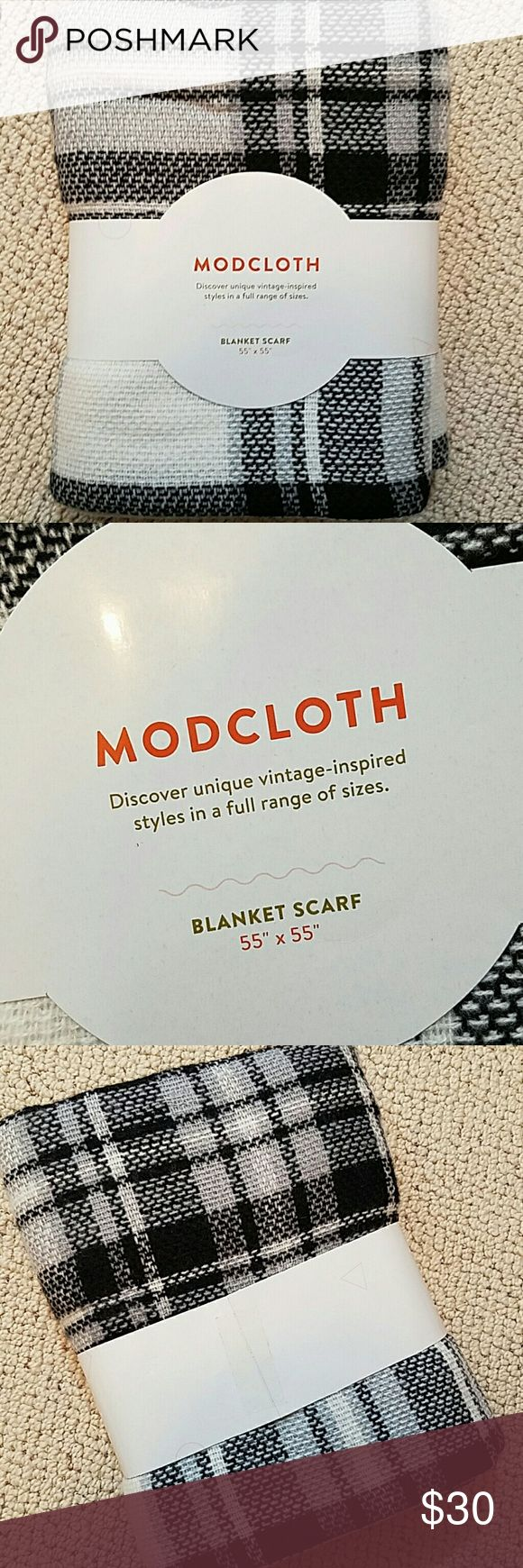 ModCloth Blanket Scarf Black and white plaid blanket scarf by ModCloth. New, never taken out of packaging. Super cute but I already have several similar. ModCloth Accessories Scarves & Wraps