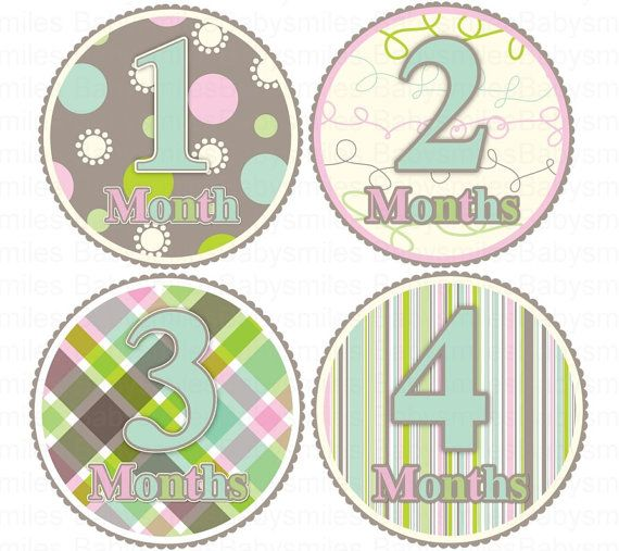 Monthly Onesie Stickers - NEW - Marley - Sweet Baby Girl Patterns  - 13 Stickers (Just Born Included) - Perfect Photo Prop and Shower Gift