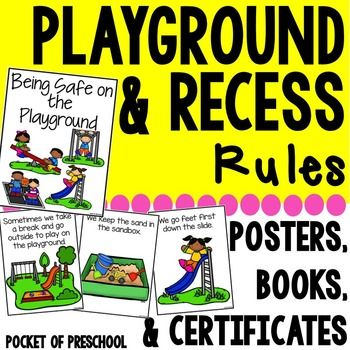 Playground & Recess Rules will help you teach your students all about the playground rules and how to stay safe. It includes a class read aloud, rules poster, rule cards, and student certificates.