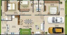 Resultado de imagem para planos de casas con 3 dormitorios y dos baños, de una planta (80 metros cuadrados)