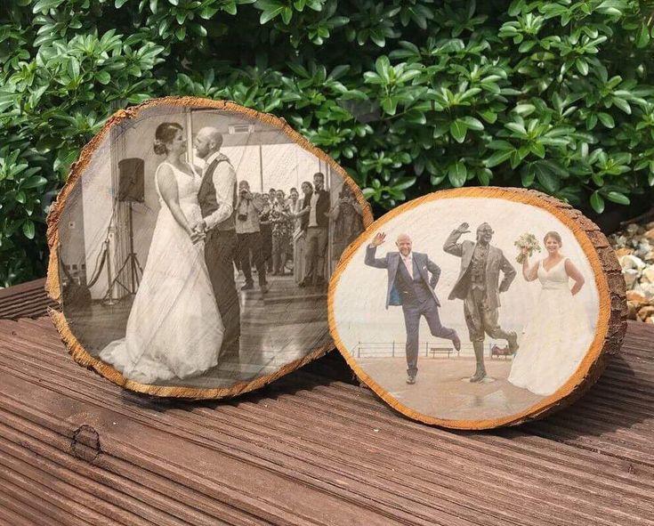 5th wedding anniversary gift wood slice photo on wood