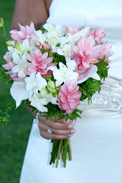Pink and white tropical hand tied bouquet. St. Lucia beach ...