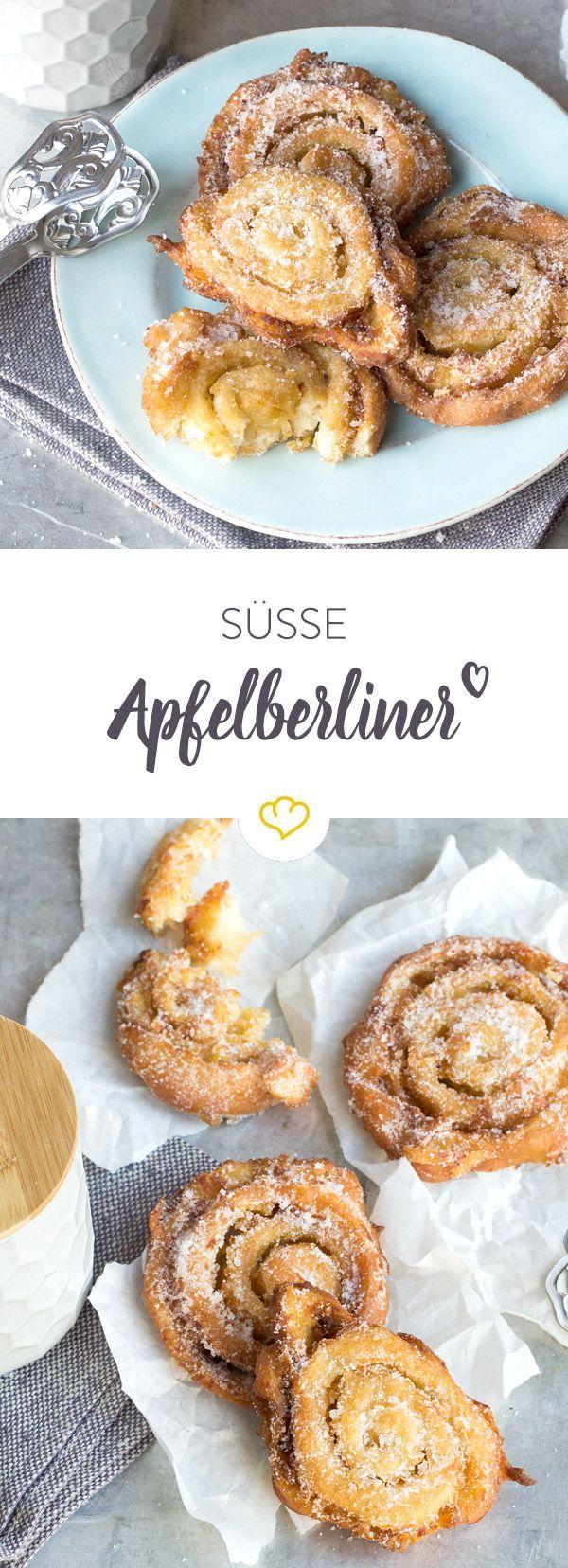 Die guten alten Apfelberliner - wie vom Bäcker, nur besser. Frisch gerollt, frittiert und gezuckert sind sie einfach unwiderstehlich.