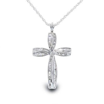 1/2+CT.+T.W.+Diamond+Cross+Pendant+in+Sterling+Silver