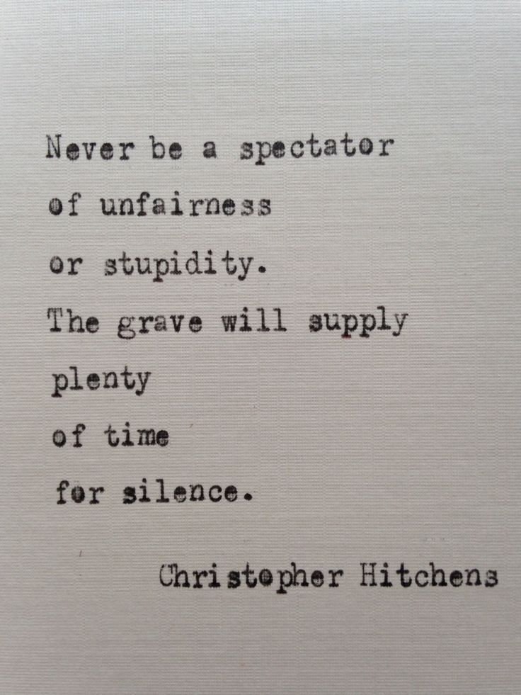 Christopher Hitchens quote hand typed on antique typewriter