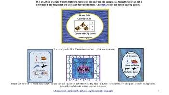 FREE Ocean Fish Count to 20 Count and Clip Task cards