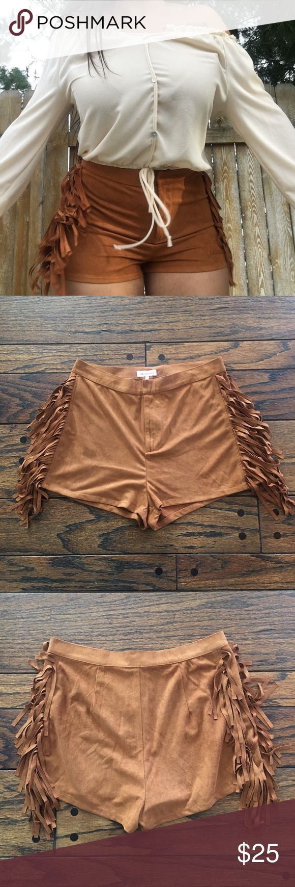Brown suede fringe shorts The perfect pair of shorts for music festivals or anyone into 70s vibes!! The suede is really soft and they are in almost perfect condition. Never worn outside the house! Only worn for pictures!! I bought them from Sorella Boutique 3 yrs ago. These look super cute with flowy blouses or band ts. Could also look cute with crop too and motorcycle boots! Serious Pocahontas vibes if you pair it with a turquoise top!  Pls send offers 🌹 Shorts