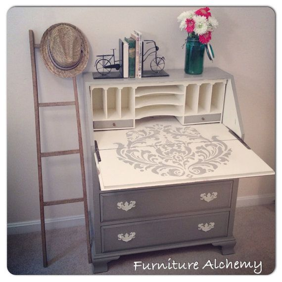 Chalk Painted French Linen and Old White Secretary Desk with Large Damask Stencil- shabby chic furniture