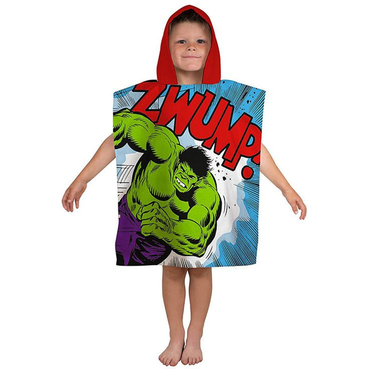 This Marvel Comics Retro Hooded Towel Poncho features The Hulk and Thor and is made from 100% cotton. Free UK delivery available.