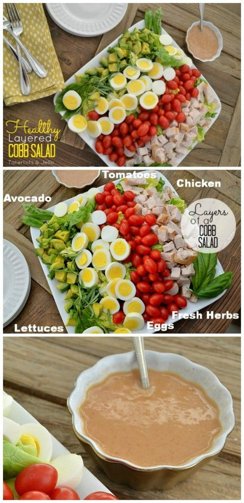 Healthy and Delicious Cobb Salad. A Low-Carb and beautiful salad to serve and enjoy! #healthyeating #lowcarb #salad