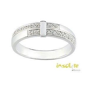 Alliance mariage  or blanc diamants Insolite alliances LYON