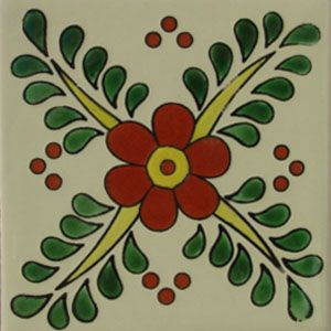 Mexican tile designs | Tiles and Tiles... Mexican Talavera tile floral design: flor nacar