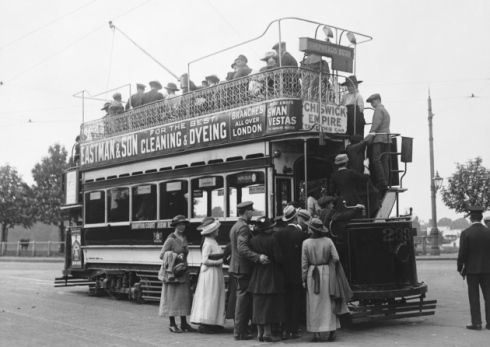 London tram between Shepherd's Bush and the Chiswick Empire in May 1919
