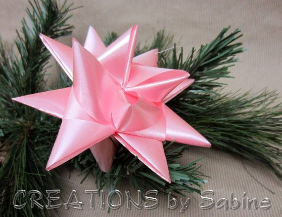 Large German Ribbon Star Ornament / Pink Baby Girl / Nursery Decor Decoration 3D Origami / Baby Shower Birthday Gift Idea READY TO SHIP    by CREATIONSbySabine, $6.00