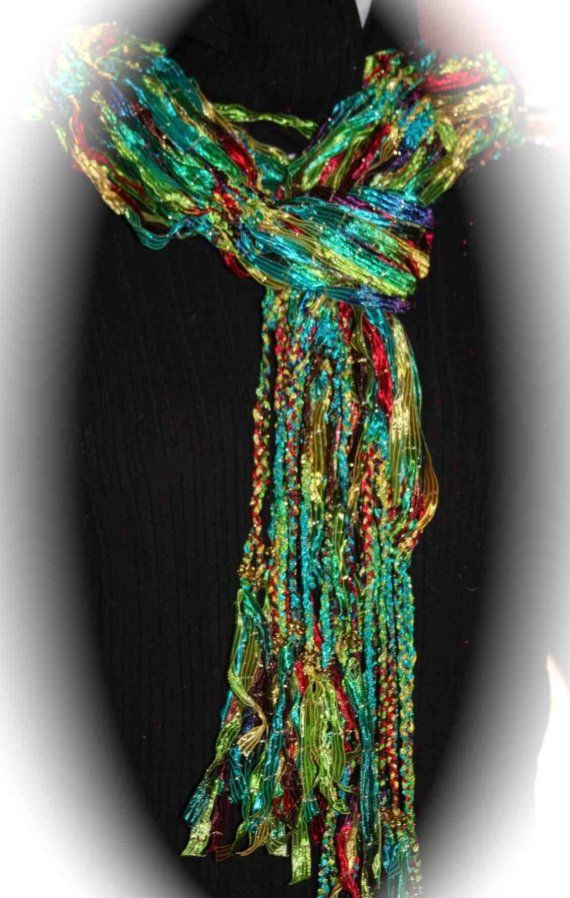 Scarfs with beads | ... - Multicolored Ribbon yarn Scarf with Gold Filigree Beads on Etsy