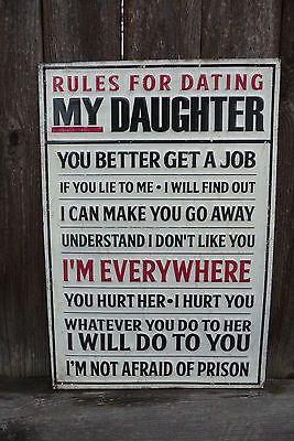 RULES For DATING MY DAUGHTER Funny Dad Shop Garage Vintage Embossed METAL SIGN