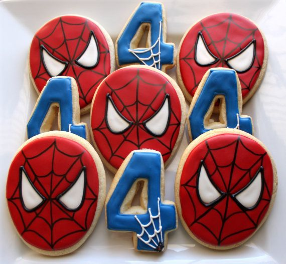 Superhero Inspired Spiderman Sugar Cookies Favors-1 Dozen on Etsy, $36.00