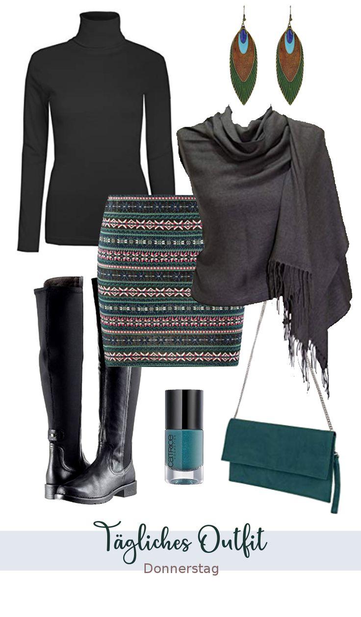 Outfit Idee Herbst | Damen Alltag Casual Style | Tägliches Outfit Arbeit | Flache Schuhe Overknee Stiefel | Herbstliche Farben Petrol Schwarz Grau | …