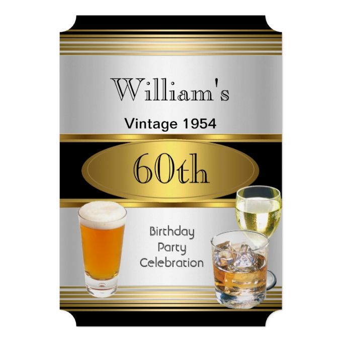 Vintage Mens 60th Birthday Party Gold Silver Beer Invitation | Zazzle.com | Event fun stuff | 60th birthday party, 60th Birthday, 60th birthday invitations