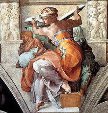 That Michelangelo could seriously paint. I like the detail of her dress, robe, whatever it would have been called back then. I once learned that Michelangelo used the male form when he painted, hence her masculine shoulders.