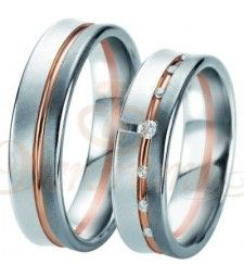 Βέρες γάμου τρίχρωμες με διαμάντι Breuning 6337-6338