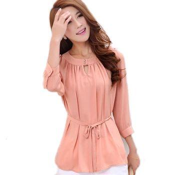Estilo coreano de las mujeres blusa de gasa camisa verde de verano de color rosa blusa de las señoras de oficina camisa chemise femme camiseta feminina blusa WD005