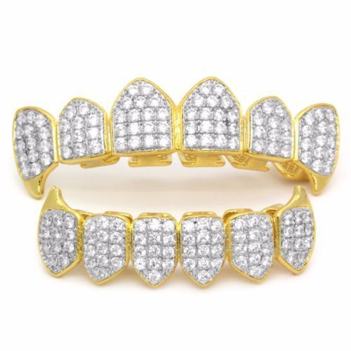 18 Gold & Silver Plated Palted CZ Top Fang & Bottom Fang Grillz