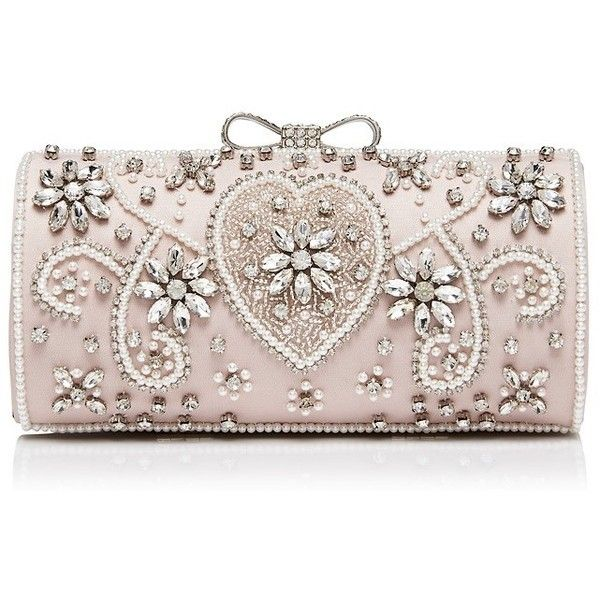 Forever New Sabrina Embellished Clutch (775 UAH) ❤ liked on Polyvore featuring bags, handbags, clutches, purses, blush, beaded clutches, bow purse, clasp purse, pink clutches and embellished handbags