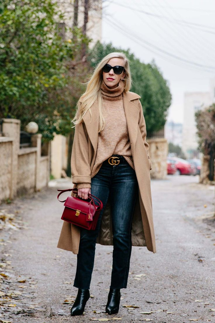 My Favorite Camel Coat and Why You Need One: Max Mara Manuela camel coat with camel turtleneck, Gucci belt and black straight leg denim, camel coat outfit