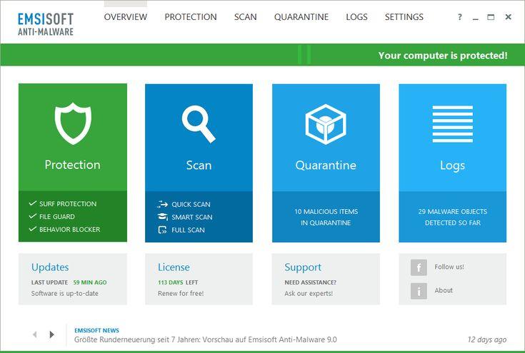 Emsisoft Anti-Malware - Downloads - Portal Ada Souza Soft