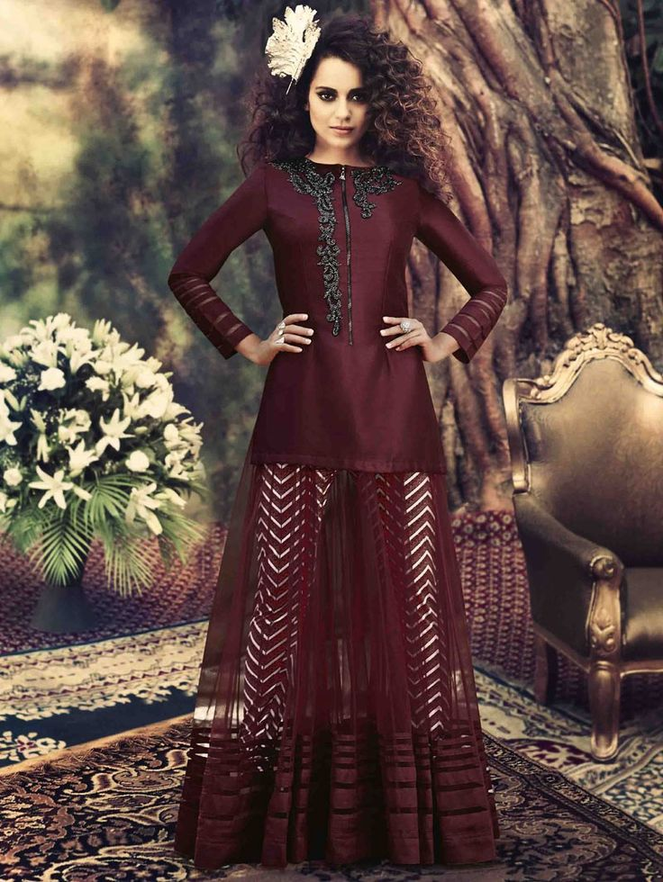 Maroon Red Partywear Embroidered Anarkali Suit