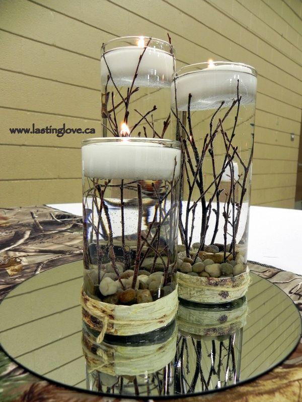 Rustic wedding centerpieces   #camoflauge #mossyoak #rusticwedding…