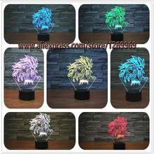 Nuevo Dragon Ball Super Saiyan Goku Mono 3D de Mesa lámpara de Luminaria Led Noche Luces de estado de Ánimo de iluminación Lámpara gran ilusión regalos(China (Mainland))