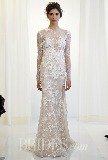 A long-sleeved, floral-embellished @angelsanchezpr wedding dress | Brides.com