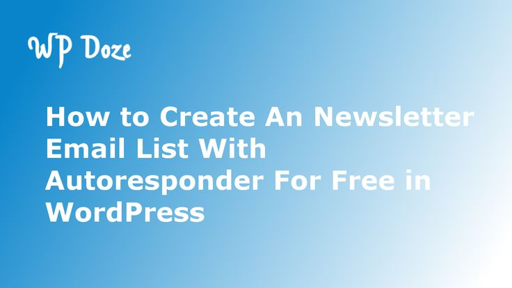 Check the article to see how you can create an newsletter email list with autoresponder for free in WordPress to start growing your list.