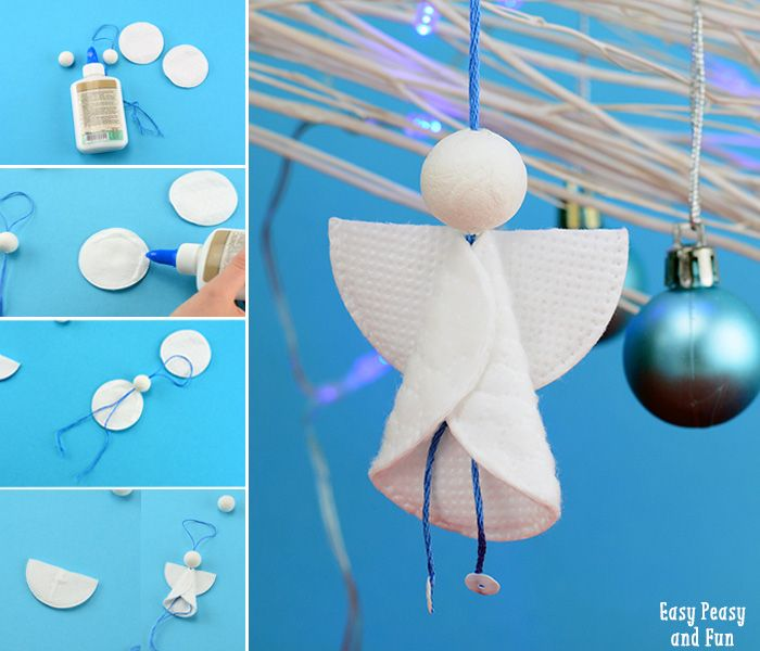 Cotton Rounds Angels Ornaments - Easy Peasy and Fun