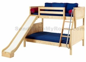 Sooooo many bunk bed options... I'll have the Twin-over-Full Bunk Bed with Slide in Chestnut, with Underbed Drawers, Playhouse Bed Curtains, Flower Box, Beverage Holder, and Back Pillows. PHEW!