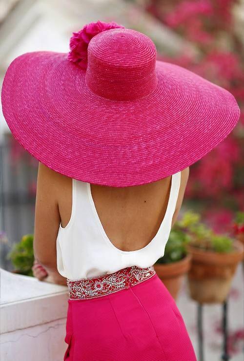 HOt pink wide brimmed hat