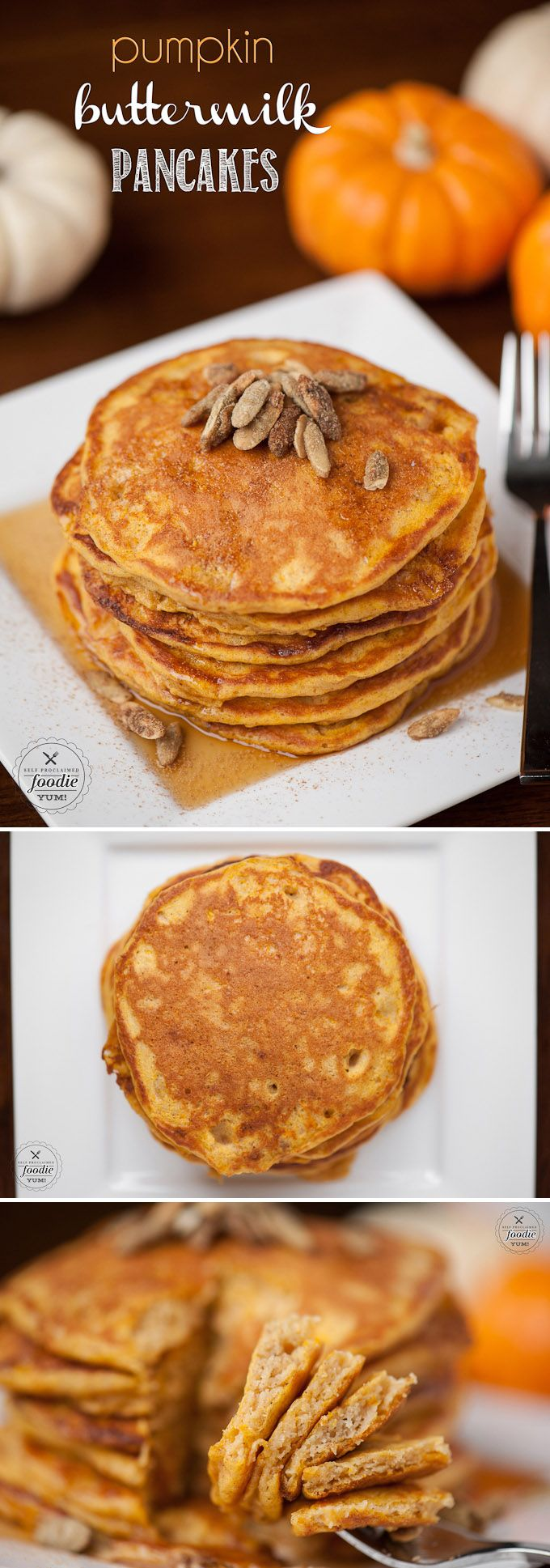 This fall, your family will love delicious and fluffy Pumpkin Buttermilk Pancakes for breakfast. They're really easy to make, so you'll love them too!
