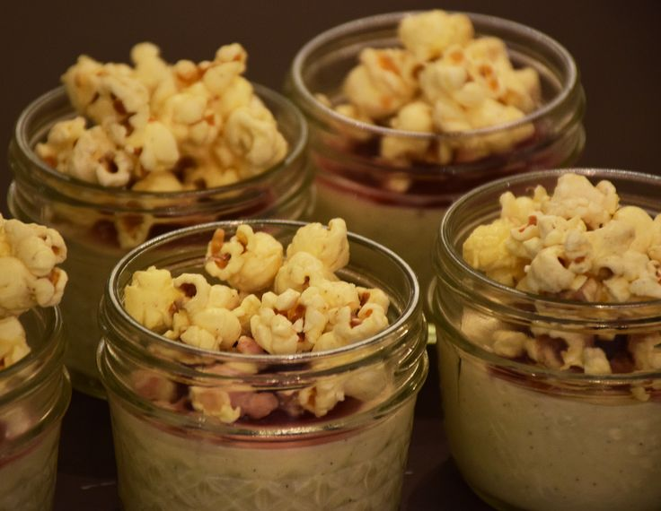 Vanilla pana cotta topped with white chocolate popcorn hockley.com