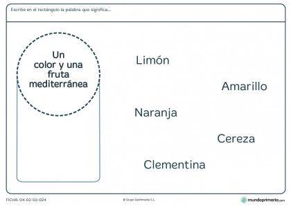 Ficha de aprender palabras y su significado para primaria