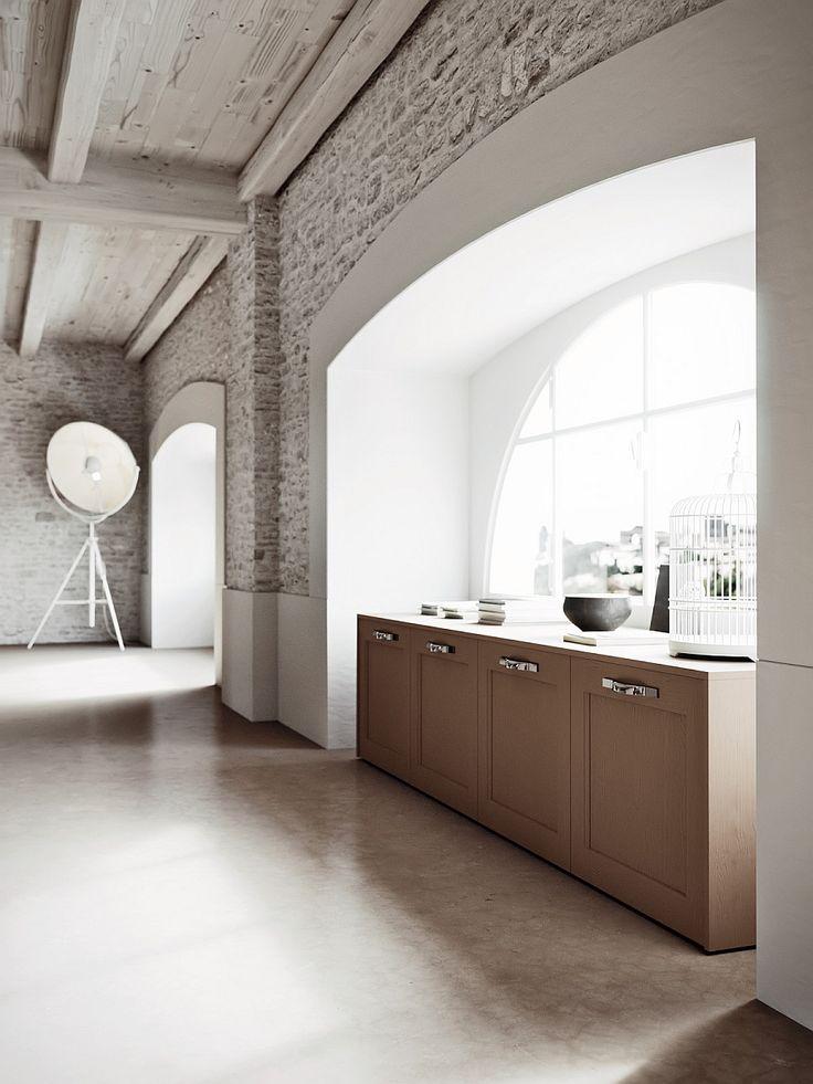 Oversized floor lamp in the kitchen corner