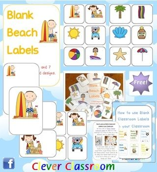 FREE Beach Themed Blank Classroom Labels - PDF file. 48 pages, plus 15 page how to use guide, including classroom images all designed by Clever Classroom.    These basic, blank beach templates can be used as labels to add to your beach/sea theme.    There are 7 different designs of the same 12 beach images i.e 6 to a page, 4 to a page, 2 to a page, with the beach images in different positions and 2 sets with the image on a full-page. Includes cover page.