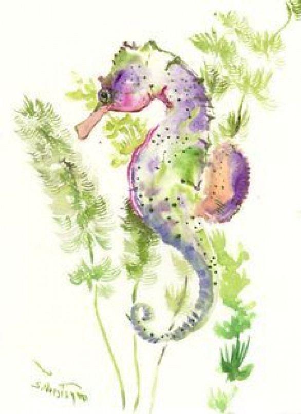 Seepferdchen-Kunst Eine Art ursprüngliche Aquarellmalerei-Seeweltillustration # …