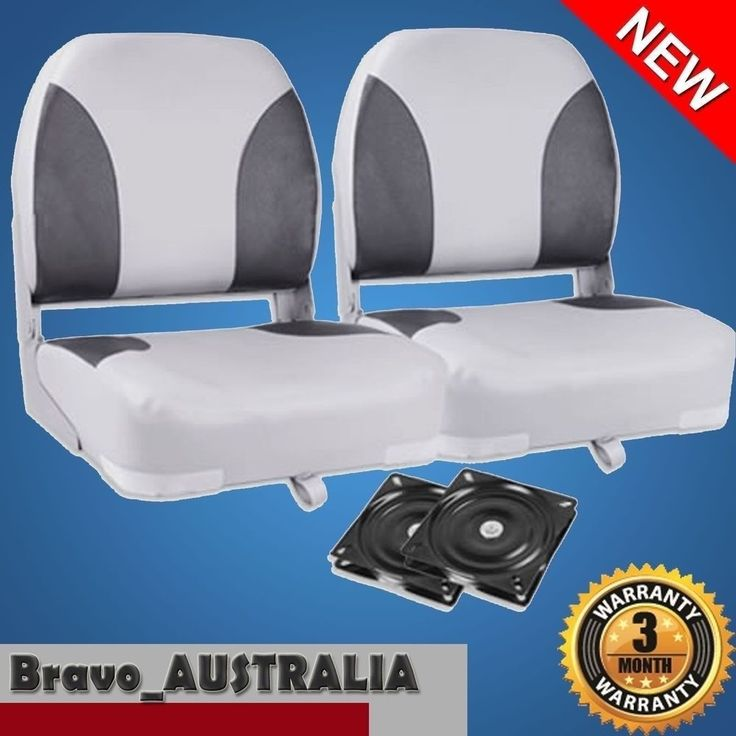 2 x Premium Folding Boat Seats Marine All Weather Grey & Charcoal With Swivels