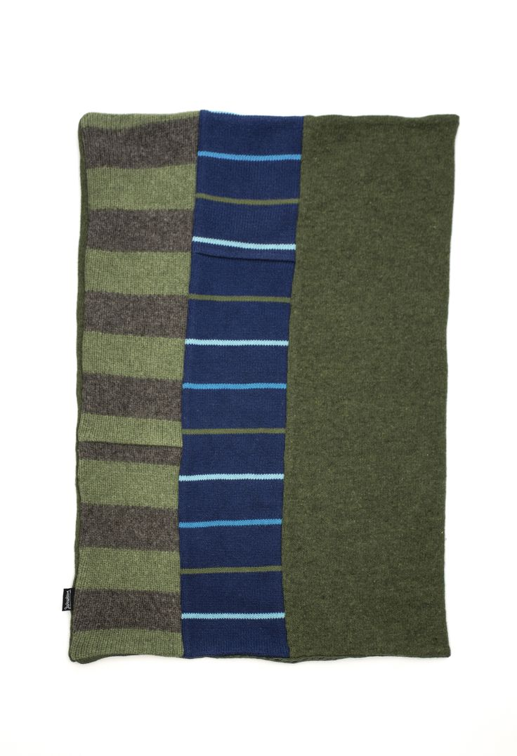 Green and blue striped upcycled wool cowl infinity scarf by Jennifer Fukushima.